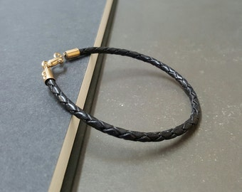 Hippie Single Black  Leather Bracelet