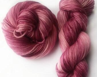 Hand dyed yarn, crimson forest, 100% super wash merino wool yarn, Pink yarn, burgundy yarn, dark pink yarn, dk weight yarn