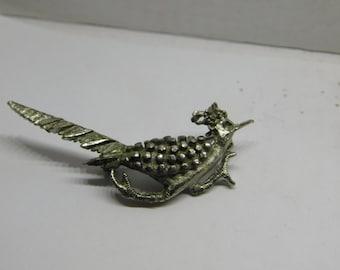 Vintage Carved Metal Pin or Brooch of a Roadrunner Bird