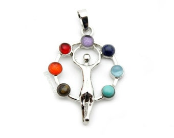 Yoga Gemstone Chakra Pendant, 1pc, 40x30x4.5mm