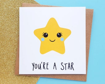 Kawaii Star Card | Thank You Card Handmade, Congratulations Card, Kawaii Card, You're A Star, Cute Cards | Cards for Her, Card for Him
