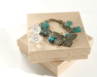 Butterfly Bracelet, Australian Jasper Bracelet with Bronze Butterfly and Crystal Dangle