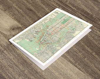 Greeting Card of City of Manhattan, New York, NY. for any occassion  Geo. H. Walker & Co.  1898.  Reproduction Vintage Map.