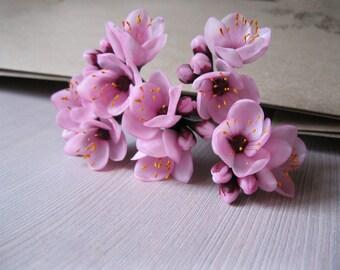 Cherry blossom wedding hair accessories Wedding hair flowers Spring wedding hair pin Blossom hair pin Sakura jewelry Spring blossom hair