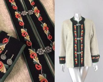 Melhus embroidered wool jacket | vintage wool cardigan | vintage wool coat