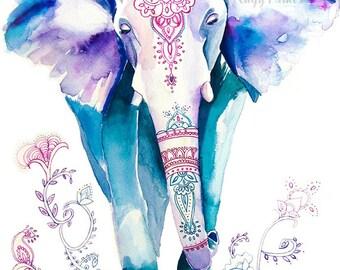 Elephant Painting, Animal Watercolor, Animal Print, Elephant Watercolor, Elephant Art Print, Elephant Print, Elephant Artwork