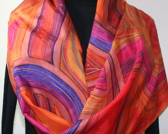 Copper Silk Scarf. Hand Painted Scarf. Burgundy Handmade Silk Shawl COPPER VALLEY. Large 14x72. Birthday, Bridesmaid Gift. Gift-Wrapped