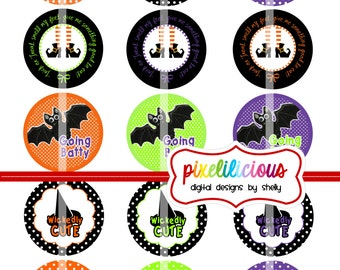 Halloween Digital Bottle Cap Images - Digital Collage - 2 Inch Circles _Buy 2 Get 1 Free