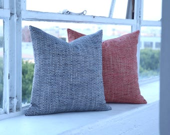 Bohemian Artisan Collection // Blue and Orange Decorative Throw Pillows // Orange and Blue Pillow Covers