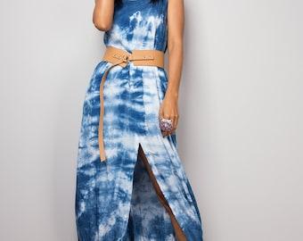 Split dress, Indigo dress, Spaghetti strap dress, Tie Dye Dress, Summer Dress, Shibori Dress, festival dress, blue dress