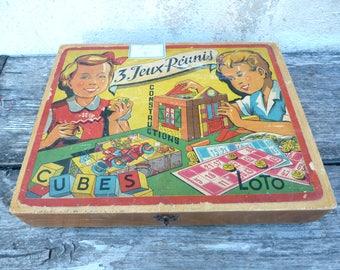 Vintage 1950/50s French game Les jeux reunis box/ wood case