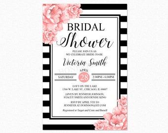 Peony Floral Bridal Shower Invitation, Black and White Bridal Shower Invitation, Pink Flowers, Printable or Printed