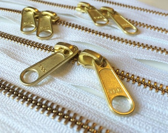 ONE 36 Inch Brass YKK Metal Zipper with Two Long Pull Head to Head Sliders- 501 White
