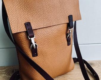 Handmade in UK Artisan thick soft grainy tan leather ladies' rucksack backpack