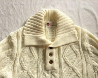 Vintage 70s Sears Kings Road Cream Cable Knit Collared Sweater Medium