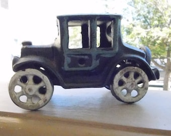 Vintage Hand Painted Cast Iron Model A Sedan - Old Ford / Chevy Sedan Style