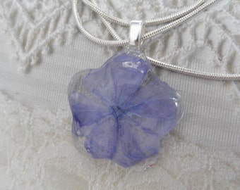 Periwinkle Blue Plumbago Glass Flower Shaped Pressed Flower Pendant-Symbolizes Spiritual Desires-Gifts For 25-Nature's Wearable Art
