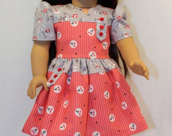 Blossoms and Cherries Dress with a Pretty Slip, 18 Inch Doll Clothes