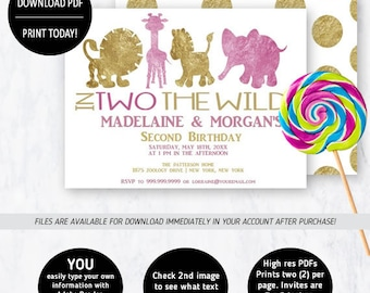 2nd Birthday Twins | Birthday Invitation, Second Birthday, In Two the Wild, Birthday Party, 2nd birthday Invite, ToyAnimals, Twins Birthday