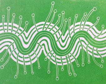 linocut - EMERGING // 8x10 art print // printmaking // block print // green //  sprouts // fungi // nature art // original // 9x12