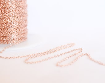 14k Rose Gold Filled Chain by the Foot - 1.9mm Round Cable Chain - Medium Chain - Pink Gold Chain Wholesale Chain Custom Length / RGF-CH002