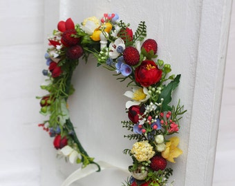 Summer spring flower crown Berries hair wreath Woodland wedding Flower girl crown Bridal headpiece Headband Red yellow blue flower halo