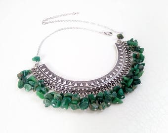 Necklace 'Nadia' II - Silver pectoral and African jade gemstones - Boho chic, statement necklace, ethnic necklace - Handmade jewelry