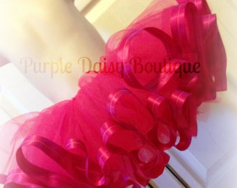 Hot Pink Satin Trim Tutu - Full and Beautiful, Perfect for Pictures