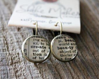 """Antique Bronze """"Create Beauty"""" Earrings"""