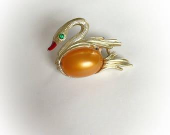 Vintage Swan Brooch Green Rhinestone Eye with Pearlescent Orange Belly Gold Tone Metal