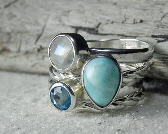 Larimar Ring Silver Stack - Larimar Jewelry -  Silver Stackable Ring Set Blue Topaz, Larimar, Moonstone - Silver Moonstone Ring