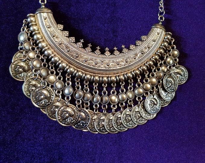 Custom Antique Gold Boho Chokers - Tribal Bellydance Custom Order Gold Boho