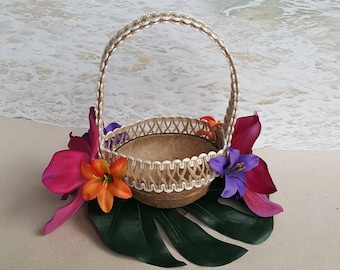 Coconut Flower Girl Basket - with Palm Leaf, Burlap, Lilies & Orchids - Tropical Beach Wedding Hawaiian Tree Coconuts Shell Natural Flowers