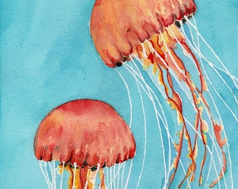 Jellyfish Painting, Watercolor Print, Giclee Print, Watercolor Jellyfish, Jellyfish, Watercolor Giclee, art print, jellyfish art
