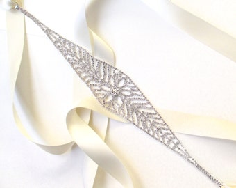 SALE! Snazzy Silver Rhinestone Bridal Belt Sash - White Ivory Silver Satin Ribbon - Wide Crystal Wedding Dress Belt - Standard Length
