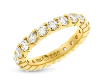2.00 CT Natural Round Diamond Eternity Band in Solid 14k Yellow Gold