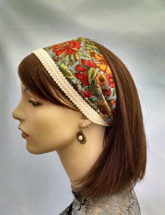Silky floral headband, headbands, half head covering, frisette