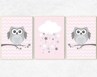 Pink nursery decor, Owl nursery wall art, baby girl room decor, owl nursery decor, baby girl nursery decor, nursery girl decor, nursery girl