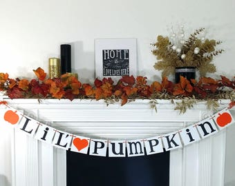 LIL PUMPKIN Banner, Little Pumpkin Baby Shower, Little Pumpkin Banner, Lil' Pumpkin Sign,Little Pumpkin Decoration, Orange Pumpkins & Heart