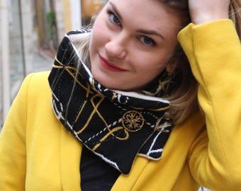 Wool scarf, trendy scarf, button scarf, black scarf, button cowl, snood, black cowl, black neckwarmer, french scarf, womens winter scarf