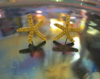 Yellow Starfish Earrings - Stud Earrings - Rhinestone Starfish Earrings - Beach Earrings - Beach Wedding - Nautical Jewelry