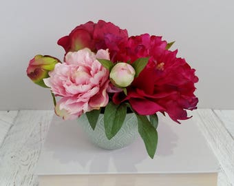 Hot pink anemone flowers in tall vase silk flower arrangements peony flower arrangement hot pink pale pink peonies in vase mixed colour peony silk flower arrangements mightylinksfo