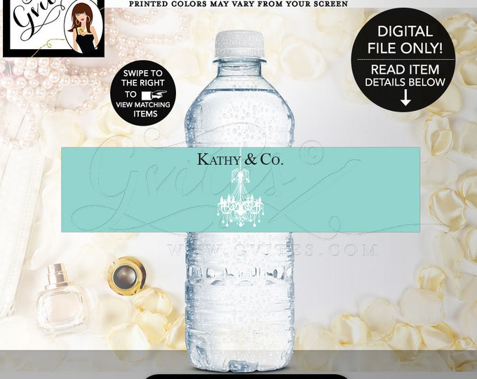 """Breakfast At Water Labels, Birthday and co water bottle labels, adult birthday labels, stickers, Chandelier. {8x2""""/5 Per Sheet} Gvites."""