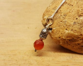 Red Sardonyx pendant. Bali silver bead necklace. Reiki jewelry uk. August birthstone. Wire wrapped pendant. 8mm stone
