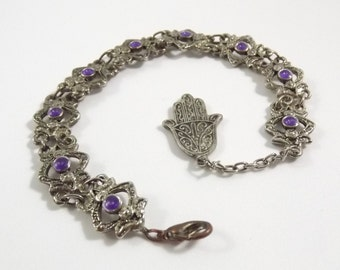 Vintage Link Bracelet with Hamsa Charm and Purple Accent Beads in Evil Eyes....Intriguing Design