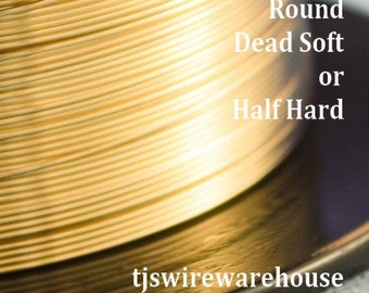 Gold Filled Wire, 14k, 12g-21g, ROUND, Dead Soft, Half Hard, Length Choice,  Wholesale