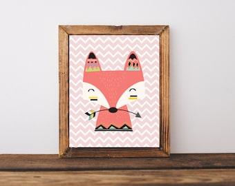 Nursery Fox Bedroom Girl Decor, Woodland Fox Decor, Tribal Nursery Girl Decor, Tribal Kids Bedroom Decor, Fox Art Print, A-1170
