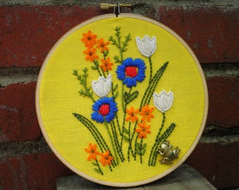 Embroidered Floral Hoop Art / Wall Art - Vintage Wildflowers 1970s Minuet Stitched White Blue + Orange Flower Embroidery Tulip & Frog Gift
