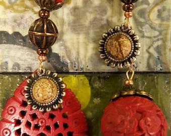 Red cinnabar asymmetric dangle earrings