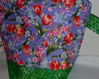 Zipper Project Bag, Purple and Red tulips, spring flowers them knitting bag, Large Size, Shawl to Sweater Wedge, Tote Bag